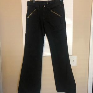 7 jeans black front side slant zipper